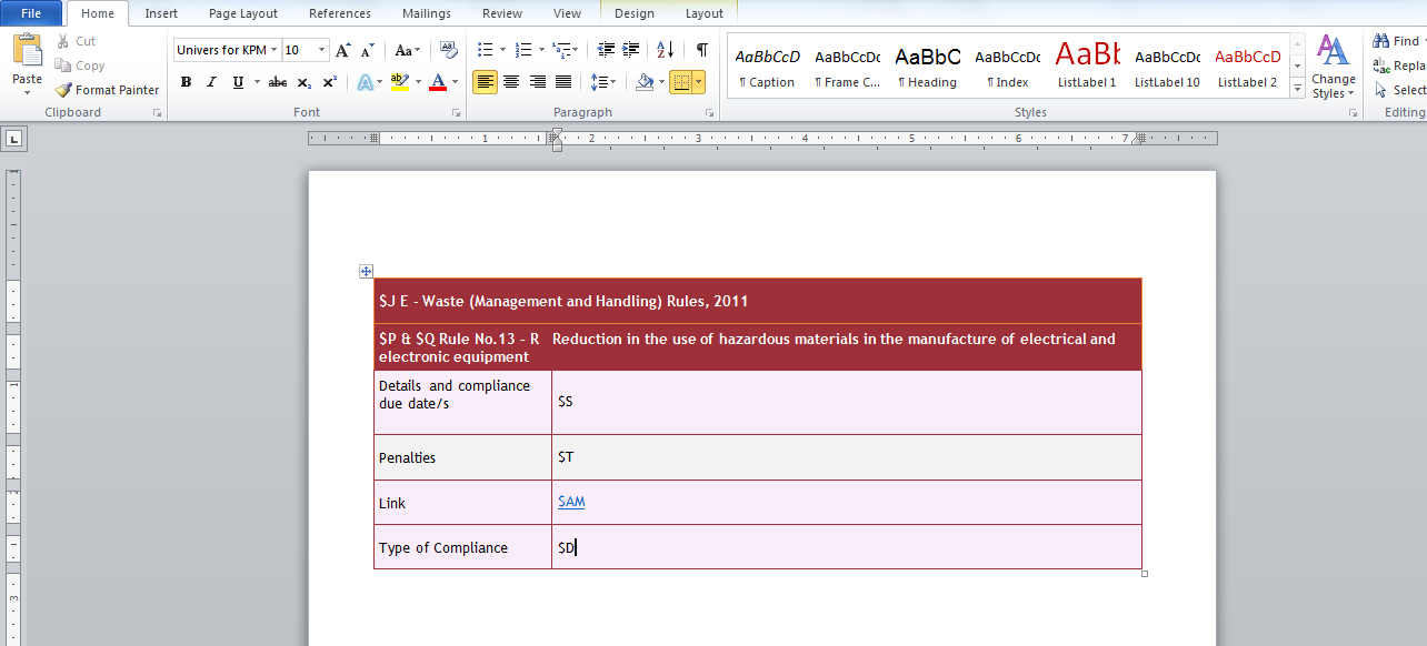 edit word table in excel